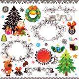Kerstmis en Nieuwjaardecoratiereeks Stock Afbeeldingen
