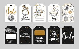 Kerstmis en Nieuwjaaretiketten, giftmarkeringen en pictogrammen Vakantiedecoratie Vectorhand getrokken illustraties en Moderne Br royalty-vrije illustratie