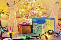 Kerstmis en Nieuwjaargiftenconcept stock foto's