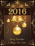 Kerstmis en 2016 Nieuwjaargroetkaart Stock Afbeelding