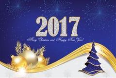 Kerstmis en Nieuwjaargroetkaart 2017 Stock Afbeelding