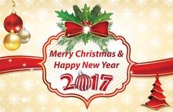 Kerstmis en Nieuwjaargroetkaart 2017 Stock Foto's