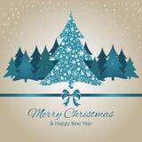Kerstmis en Nieuwjaargroetkaart, Kerstboom, vectorillustratieachtergrond Stock Afbeeldingen