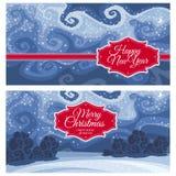 Kerstmis en Nieuwjaargroetkaarten Stock Afbeelding