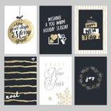 Kerstmis en Nieuwjaarhand getrokken geplaatste groetkaarten Stock Afbeelding