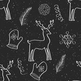 Kerstmis en Nieuwjaarhand getrokken naadloos patroon Royalty-vrije Stock Afbeelding