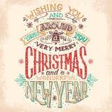 Kerstmis en Nieuwjaarhand het van letters voorzien Royalty-vrije Stock Afbeeldingen