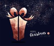 Kerstmis en Nieuwjaarkaart van de koper de lage polygift royalty-vrije illustratie
