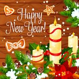 Kerstmis en Nieuwjaarkroon op houten achtergrond Stock Afbeelding