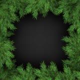 Kerstmis en Nieuwjaarmalplaatje van realistische takken van Kerstboom op zwarte achtergrond Eps 10 royalty-vrije illustratie