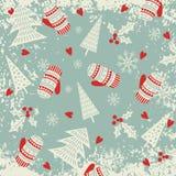 Kerstmis en Nieuwjaarpatroon met vuisthandschoenen en Kerstbomen De wintervakantie Royalty-vrije Stock Afbeelding