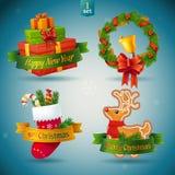 Kerstmis en Nieuwjaarpictogrammen. Vector Illustratie