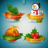 Kerstmis en Nieuwjaarpictogrammen Stock Foto's