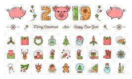 Kerstmis en Nieuwjaarpictogrammen, het jaar van 2019 het Varken, Vakantie kleurrijke tekens Het dunne ontwerp van de lijnkunst, V vector illustratie