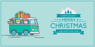 Kerstmis en Nieuwjaars groetkaart Stock Illustratie