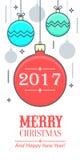 Kerstmis en Nieuwjaars groetkaart Royalty-vrije Illustratie