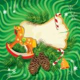 Kerstmis en Nieuwjaarskaart met het houten schommelen ho Royalty-vrije Stock Afbeeldingen