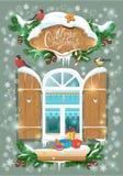 Kerstmis en Nieuwjaarskaart met houten ijzig venster Royalty-vrije Stock Afbeelding