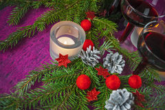 Kerstmis en Nieuwjaarskaart met kaars Royalty-vrije Stock Afbeeldingen