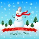 Kerstmis en Nieuwjaarskaart met sneeuwman Vector illustratie Stock Fotografie