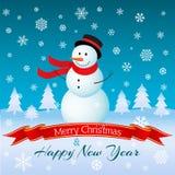 Kerstmis en Nieuwjaarskaart met sneeuwman Vector illustratie Stock Foto's