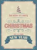 Kerstmis en Nieuwjaarskaart in retro stijl met Kerstmisboom en sneeuwvlokken Stock Afbeeldingen