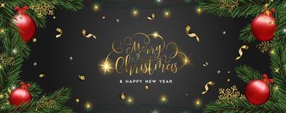Kerstmis en Nieuwjaarskaart van de ornamenten van de pijnboomboom vector illustratie