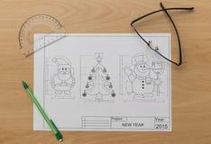 Kerstmis en Nieuwjaarsymbolenblauwdruk Royalty-vrije Stock Foto's