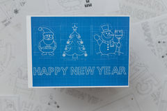 Kerstmis en Nieuwjaarsymbolenblauwdruk Stock Foto's