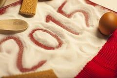 2015 Kerstmis en Nieuwjaarvoedselgroeten Stock Fotografie