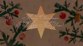 Kerstmis en Nieuwjaarwensen op een ster met Kerstboomachtergrond stock illustratie