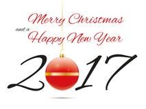 Kerstmis en van het Nieuwjaar Eve Greeting Card met Snuisterij vector illustratie