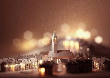 Kerstmis Eve Church vector illustratie