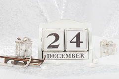 Kerstmis Eve Date On Calendar 24 december Stock Foto's