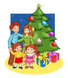 Kerstmis in familie royalty-vrije illustratie