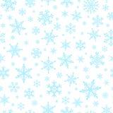 Kerstmis feestelijk naadloos patroon met blauwe sneeuwvlokken royalty-vrije illustratie