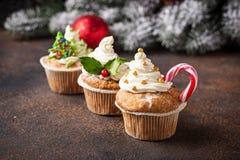 Kerstmis feestelijke cupcake met verschillende decoratie stock afbeelding