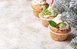 Kerstmis feestelijke cupcake met verschillende decoratie stock foto's