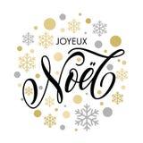 Kerstmis in Frans de tekstornament van Joyeux Noel voor groetkaart Royalty-vrije Stock Fotografie