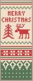 Kerstmis gebreid patroon met herten Stock Fotografie