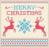 Kerstmis gebreid patroon met herten Stock Foto