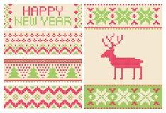 Kerstmis gebreid patroon met hertenreeks Stock Foto