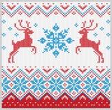 Kerstmis gebreid patroon met sneeuwvlok en herten vectorreeks Stock Foto