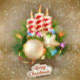Kerstmis gebreide decoratie met kaars Eps 10 Royalty-vrije Stock Afbeeldingen