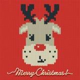 Kerstmis gebreide kaart of achtergrond met een hert Stock Afbeelding