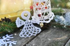Kerstmis gebreide klok royalty-vrije stock fotografie