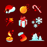 Kerstmis gedetailleerde pictogrammen Stock Afbeeldingen