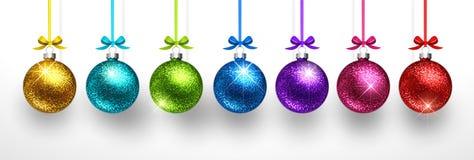 Kerstmis gekleurde ballen Vector stock foto's