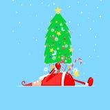 Kerstmis gekwetste Santa Claus Stock Afbeeldingen