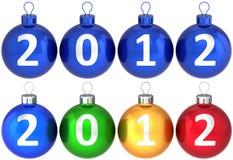 Kerstmis geplaatste de ballensnuisterijen van 2012 Nieuwjaren Royalty-vrije Stock Foto's